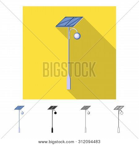 Vector Illustration Of Lamppost And Solar Icon. Set Of Lamppost And Alternative Vector Icon For Stoc