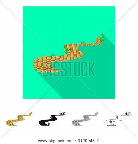 Vector Illustration Of Road And Scenery Icon. Collection Of Road And Footpath Vector Icon For Stock.