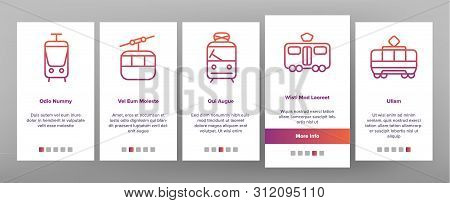 Tramway, Urban Transport Onboarding Mobile App Page Screen. Tramway, Eco-friendly Vehicle Linear Ill