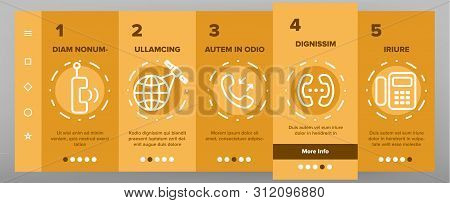 Global Telephony System Linear Vector Onboarding Mobile App Page Screen. Telephony, Mobile Technolog