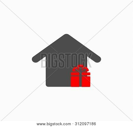 Vector Home Icon And Gift Box Close-up. Layout Logo For Real Estate Company - Buying And Selling Rea