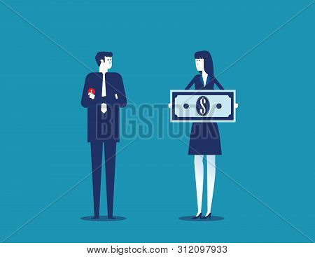 Job Salary. People And Money For Labor Worker. Concept Business Vector Illustration.