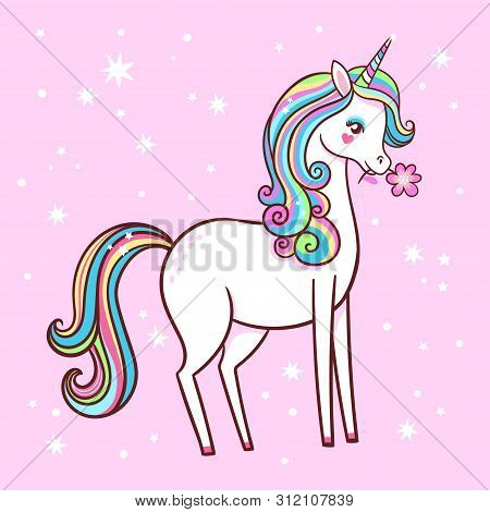 Cute Unicorn Stands On A Pink Background With Stars And Holds A Flower In His Teeth.