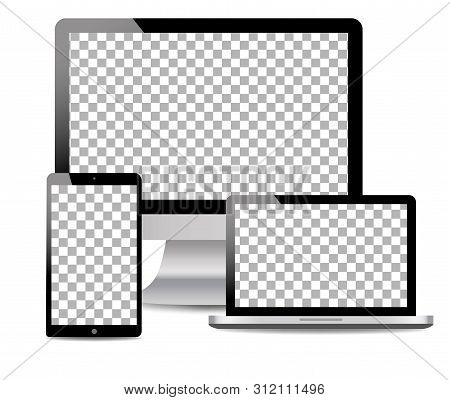 Realistic Computer, Laptop, Touch Tablet In Mockup Style. Modern Devices On Isolated Background. Vec