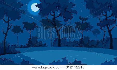 Blue Background Of Cartoon Summer Forest On Moonlit Night
