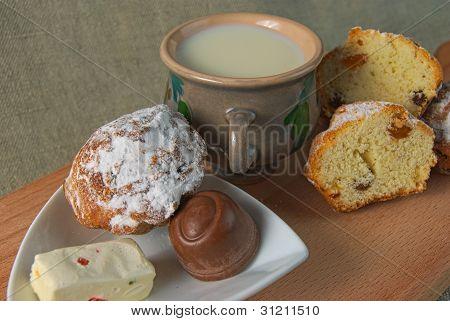 Fruitcakes, Sweets, A Mug With Milk