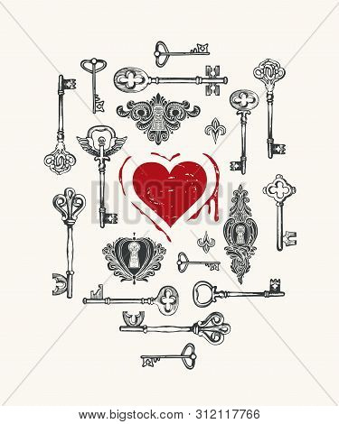 Vector Greeting Card Or Banner On The Theme Of Love With Hand-drawn Vintage Keys And Red Heart With