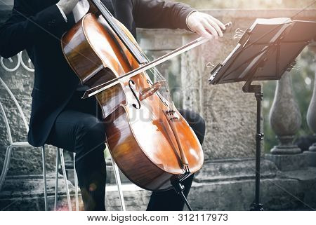 A Musician In A Classic Black Suit Plays The Cello With A Bow, Sitting On An Elegant White Chair On