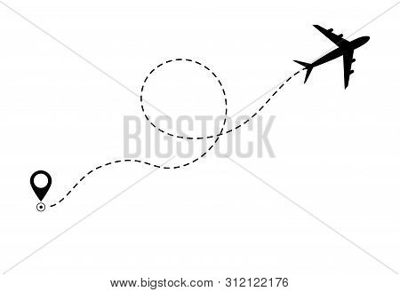 Airplane Line Path Icon Of Air Plane Flight Route. Airplane Travel Concept, Symbol On Isolated Backg
