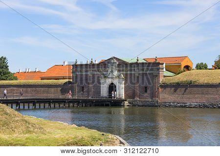 Helsingor, Denmark - June 23, 2019: Medieval Kronborg Castle On The Oresund Strait, Baltic Sea, Brid