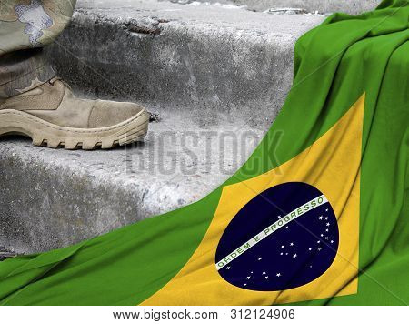 Military Concept On The Background Of The Flag Of Brazil