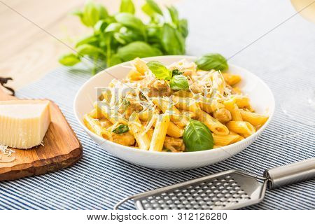 Pasta Penne With Chicken Pieces Mushrooms Basil Parmesan Cheese And White Wine.  Italian Food In Whi