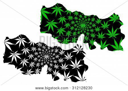Trabzon (provinces Of The Republic Of Turkey) Map Is Designed Cannabis Leaf Green And Black, Trabzon