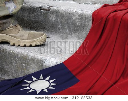 Military Concept On The Background Of The Flag Of Taiwan