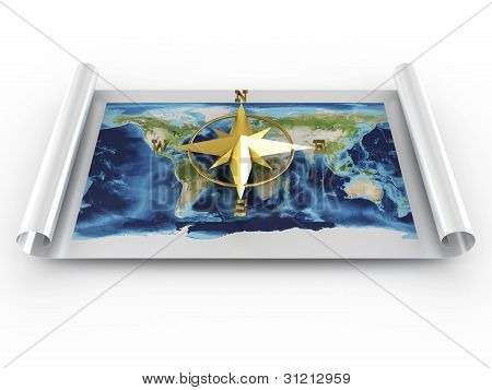 Compass With Map Of World. 3D Image