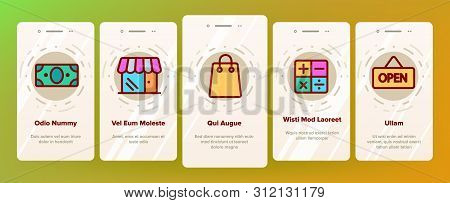 Webshop, Online Shopping Linear Vector Onboarding Mobile App Page Screen. E Commerce Thin Line Conto