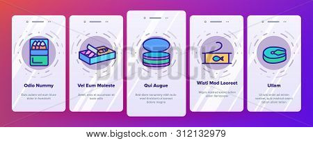 Color Tuna, Fish Products Vector Onboarding Mobile App Page Screen. Raw, Cooked And Canned Tuna Outl