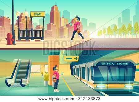 Woman At Metro Station. Relaxed Girl Listen Music In Headset Going To Subway Entrance, Stand On Tube