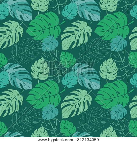 Tropical Leaves Seamless Pattern On A Turqoise Background
