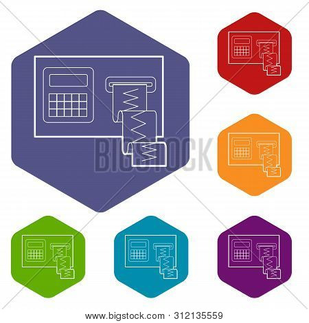 Cardiograph Icons Vector Colorful Hexahedron Set Collection Isolated On White