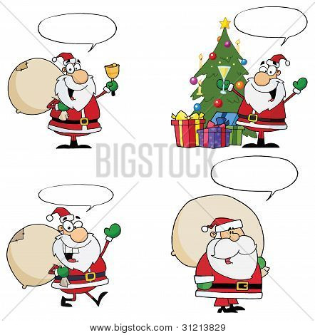 Santa Claus Cartoon Characters With Spech Bubble poster