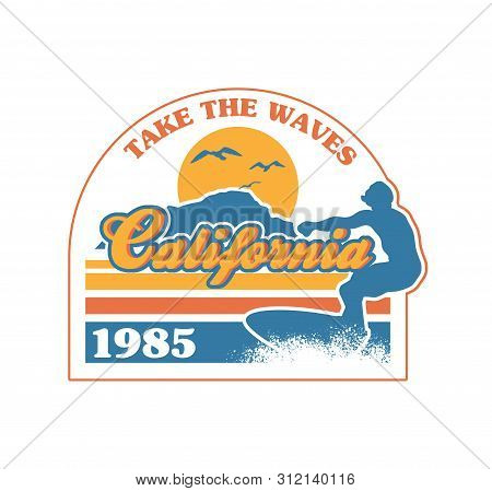 Surfer Riding On The Big Wave In Ocean California Beach Paradise Place. Vintage Retro Fashion Graphi