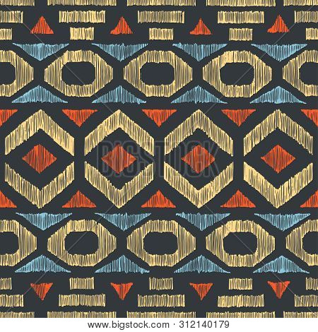 Seamless Ethnic Pattern Drawn By Freehand Pencil. Bohemian Print For Textiles. Ethnic And Tribal Mot