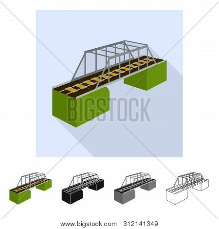 Isolated Object Of Bridge And Sea Sign. Collection Of Bridge And Columns Stock Symbol For Web.