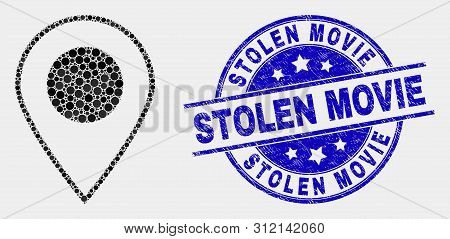 Dot Map Marker Mosaic Pictogram And Stolen Movie Seal Stamp. Blue Vector Round Distress Seal Stamp W