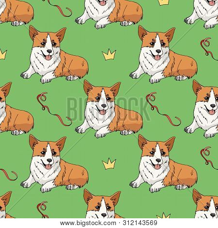 Seamless Pattern With Cute Pembroke Welsh Corgi And Doodles On Green Background. Endless Texture Wit