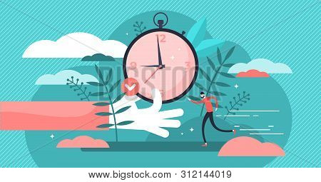 Punctual Vector Illustration. Flat Tiny Precision Timing Persons Concept. Perfect Schedule And Accur