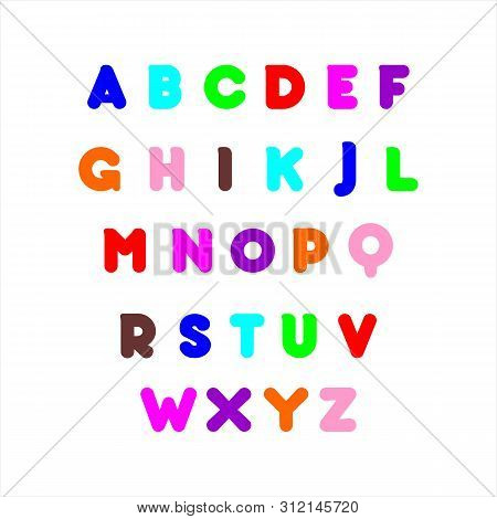 Vector Of Stylized Colorful Font And Alphabet. Colorful Alphabet Abc Alphabetic Writing Creative Col
