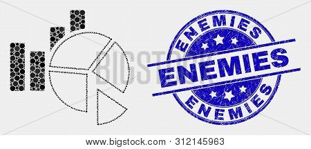 Dot Statistics Charts Mosaic Pictogram And Enemies Seal Stamp. Blue Vector Round Grunge Stamp With E