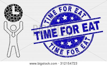 Dot Time Manager Mosaic Icon And Time For Eat Seal Stamp. Blue Vector Round Textured Seal With Time