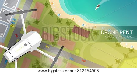 Drone Flying Over City And Sea Or Beach. Aerial Drone Taking Photography And Video.