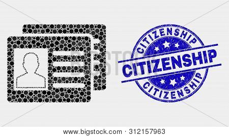 Pixel User Id Cards Mosaic Icon And Citizenship Seal Stamp. Blue Vector Rounded Grunge Watermark Wit