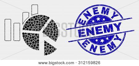 Pixelated Statistics Charts Mosaic Pictogram And Enemy Seal Stamp. Blue Vector Round Grunge Seal Wit