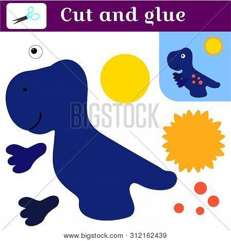 Application With A Dinosaur. Paper Game. Print, Cut And Glue. Blue Tyrannosaurus And The Sun. Simple