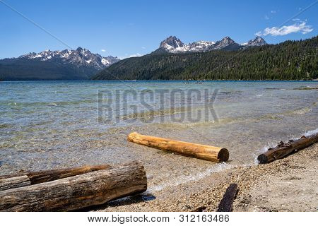 Summer View At Redfish Lake, Located Outside Stanley Idaho In The Sawtooth National Forest Wildernes