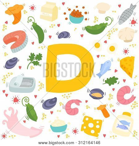 Vitamin D Doodles. Hand Drawn Illustration Of Different Food Rich Of Vitamin D.  Colorful Vector Ill