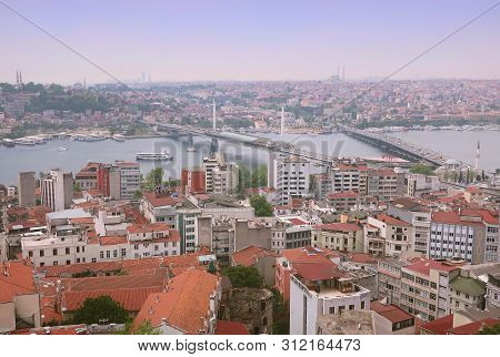 Istanbul, Turkey - May 15, 2019: The Streets Of Istanbul. View Of Istanbul From The Observation Deck