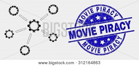 Pixelated Gear Links Mosaic Pictogram And Movie Piracy Seal Stamp. Blue Vector Rounded Textured Seal