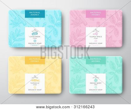 Cinnamon, Clove, Mint And Vanilla Soap Cardboard Boxes Set. Abstract Vector Wrapped Paper Container