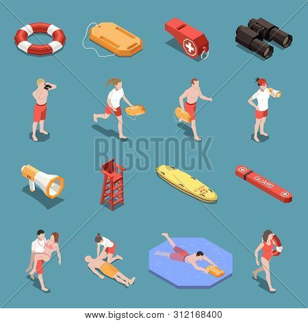 Isometric Icons Set With Male And Female Beach Lifeguards And Their Inventory 3d Isolated Vector Ill