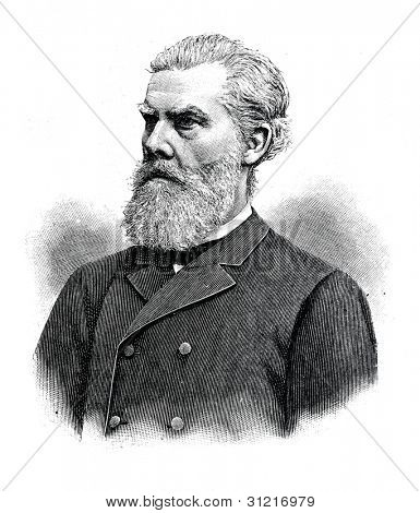 Professor Wilhelm Grube - doctor, surgeon, teacher and scholar. Engraving by Shyubler . Published in magazine