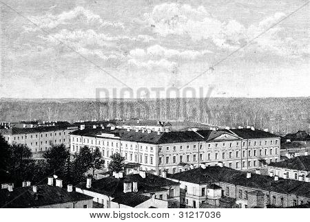 Imperial Gatchina Nicholas Orphan's Institute in St. Petersburg. Engraving by Rashevsky. Published in magazine