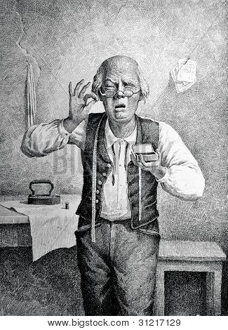 A man sniffs tobacco. Engraving by Angerer  from picture by Obolensky. Published in magazine