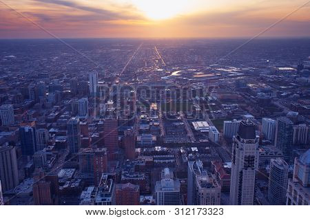 Chicago City. Cityscape Image Of Chicago Downtown During Sunset Blue Hour.