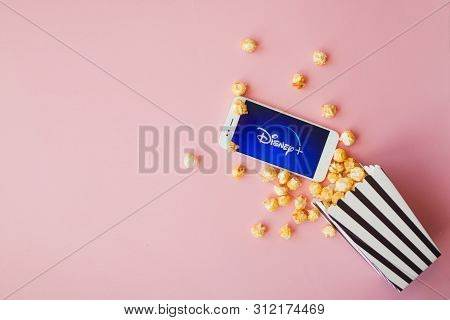 Saint Petersburg, Russia - July 7, 2019: Movies And Series By Subscription, Concept. Smartphone With