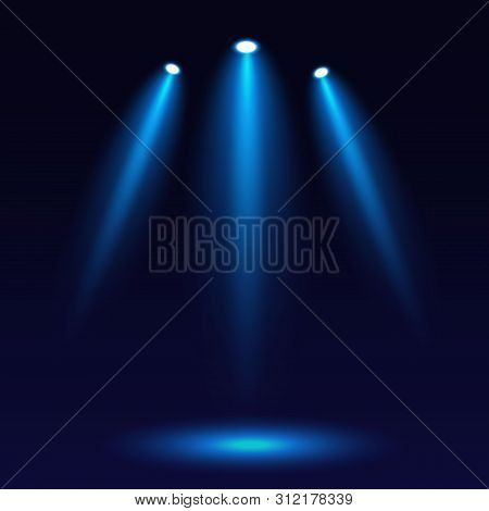 Scene Illumination, On A Dark Background. Bright Lighting With Three Spotlights. Spotlight On Stage